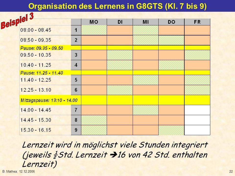 B. Mathea, 12.12.200622 (jeweils ½Std. Lernzeit 16 von 42 Std. enthalten Lernzeit) Organisation des Lernens in G8GTS (Kl. 7 bis 9) Lernzeit wird in mö