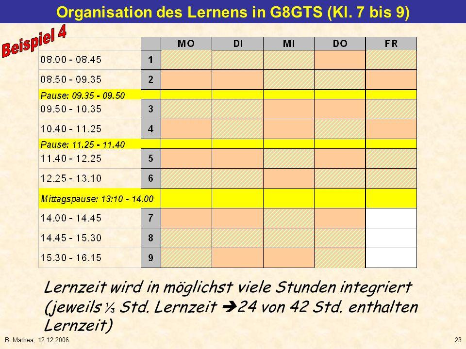 B. Mathea, 12.12.200623 Organisation des Lernens in G8GTS (Kl. 7 bis 9) (jeweils Std. Lernzeit 24 von 42 Std. enthalten Lernzeit) Lernzeit wird in mög