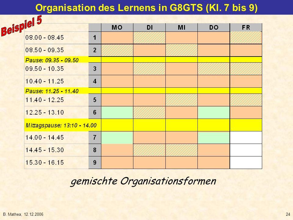 B. Mathea, 12.12.200624 Organisation des Lernens in G8GTS (Kl. 7 bis 9) gemischte Organisationsformen