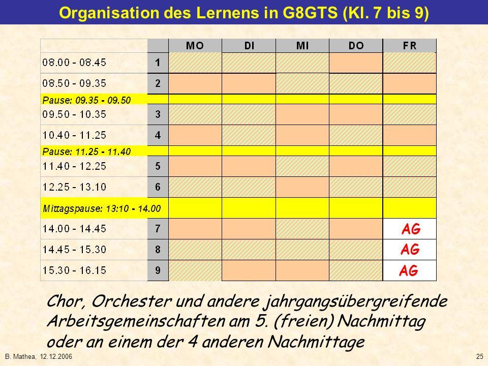 B. Mathea, 12.12.200625 Chor, Orchester und andere jahrgangsübergreifende Arbeitsgemeinschaften am 5. (freien) Nachmittag AG Organisation des Lernens
