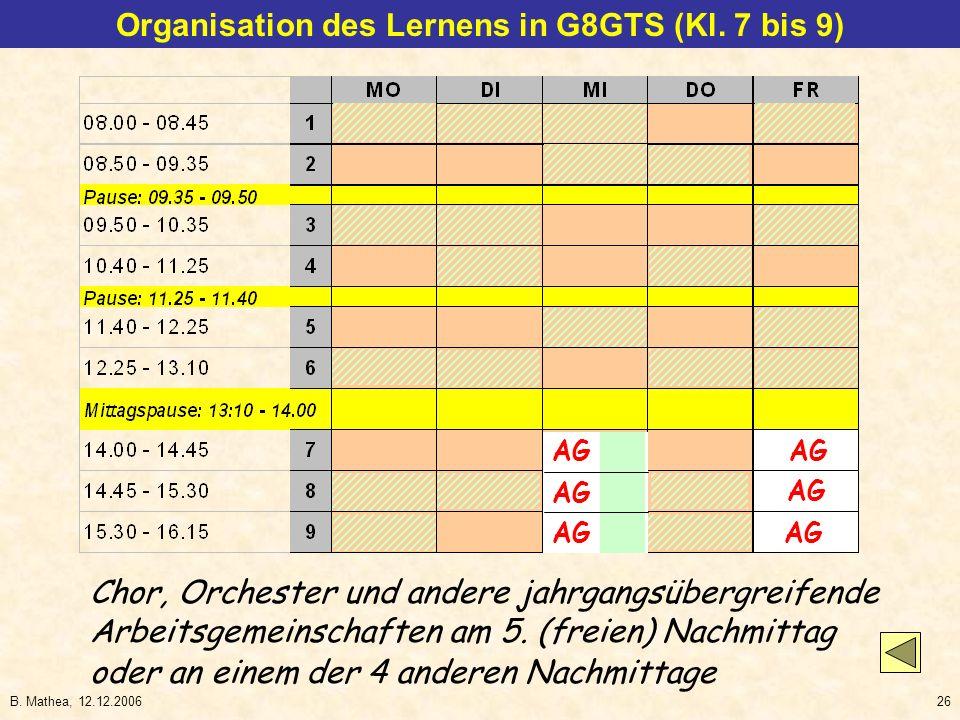 B. Mathea, 12.12.200626 AG Chor, Orchester und andere jahrgangsübergreifende Arbeitsgemeinschaften am 5. (freien) Nachmittag Organisation des Lernens