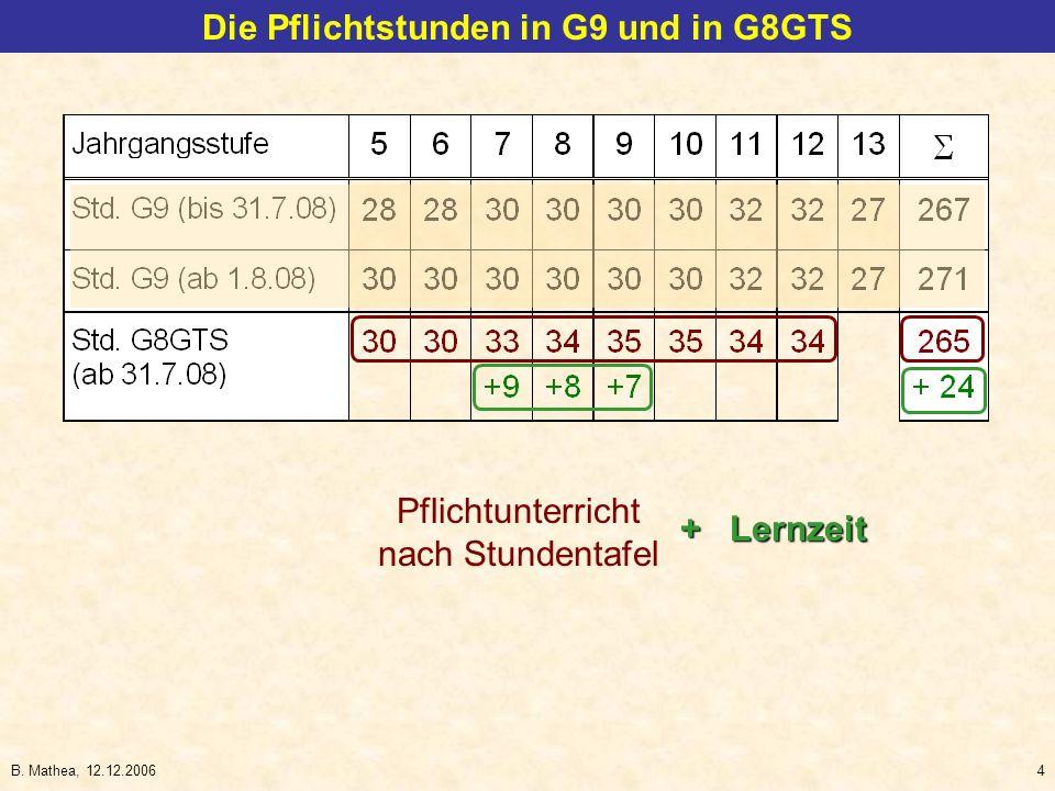B. Mathea, 12.12.20064 Die Pflichtstunden in G9 und in G8GTS Pflichtunterricht nach Stundentafel + Lernzeit