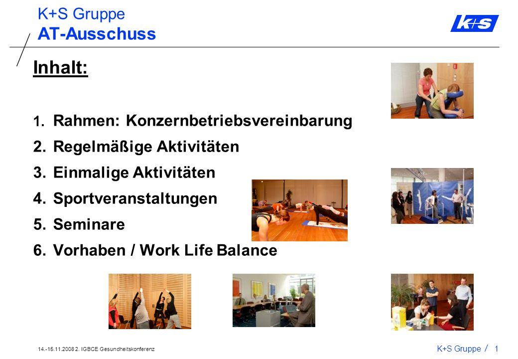 14.-15.11.2008 2. IGBCE Gesundheitskonferenz K+S Gruppe0 Projekte 2. Gesundheitskonferenz 14.-15.11.2008 in Rotenburg/F. Projekte am Standort Kassel R