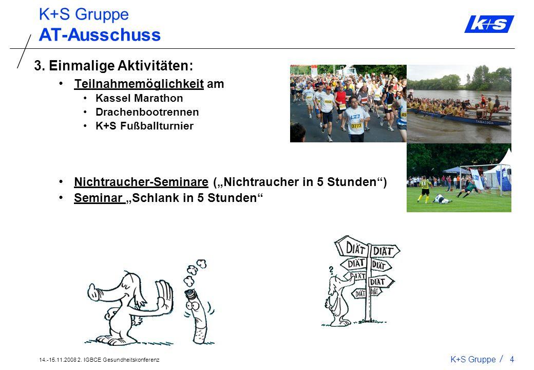 14.-15.11.2008 2. IGBCE Gesundheitskonferenz K+S Gruppe3 AT-Ausschuss 2. Regelmäßige Aktivitäten: Entspannung in der Mittagspause (2 x wöchentlich) Fr