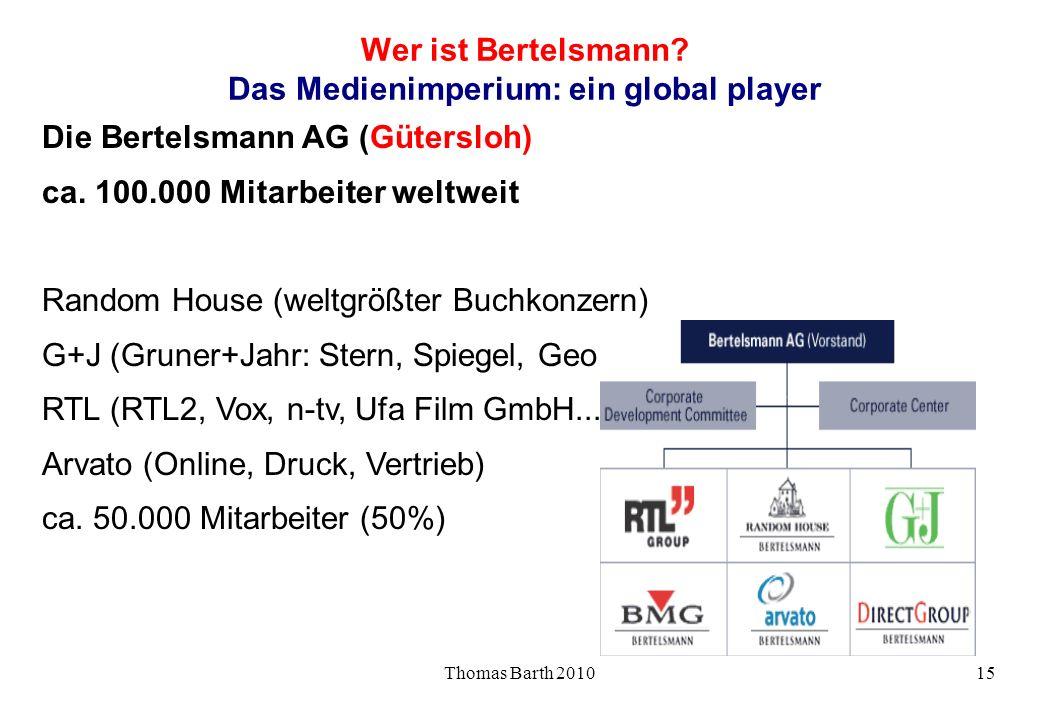 Thomas Barth 201015 Wer ist Bertelsmann? Das Medienimperium: ein global player Die Bertelsmann AG (Gütersloh) ca. 100.000 Mitarbeiter weltweit Random