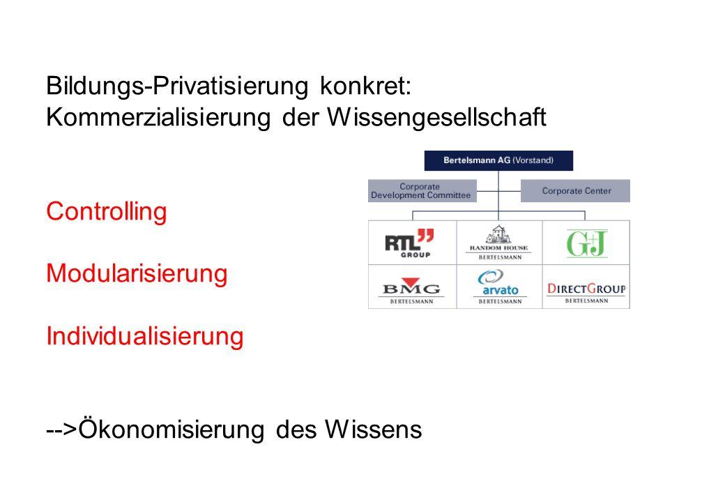 Bildungs-Privatisierung konkret: Kommerzialisierung der Wissengesellschaft Controlling Modularisierung Individualisierung -->Ökonomisierung des Wissen