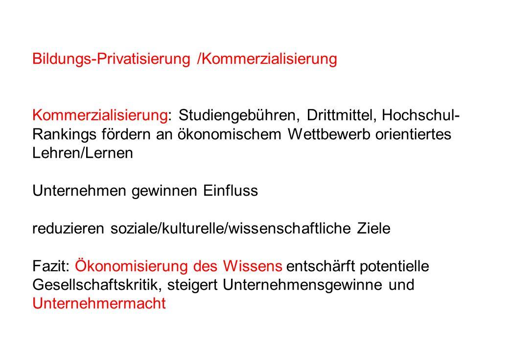 Bildungs-Privatisierung /Kommerzialisierung Kommerzialisierung: Studiengebühren, Drittmittel, Hochschul- Rankings fördern an ökonomischem Wettbewerb o