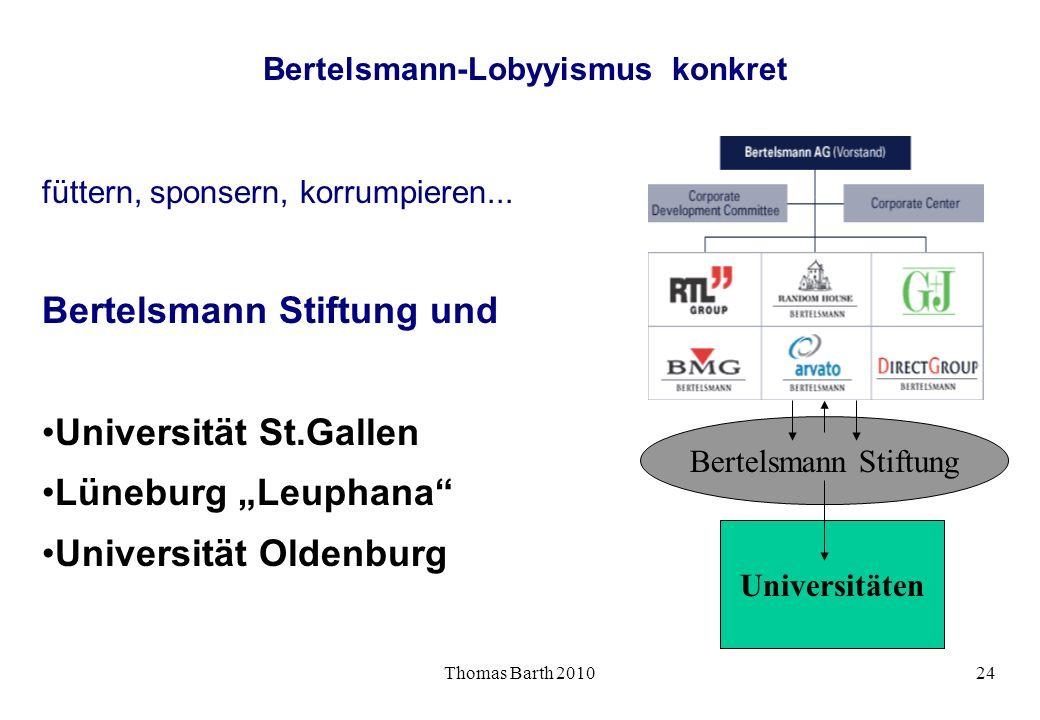 Thomas Barth 201024 Bertelsmann-Lobyyismus konkret füttern, sponsern, korrumpieren... Bertelsmann Stiftung und Universität St.Gallen Lüneburg Leuphana