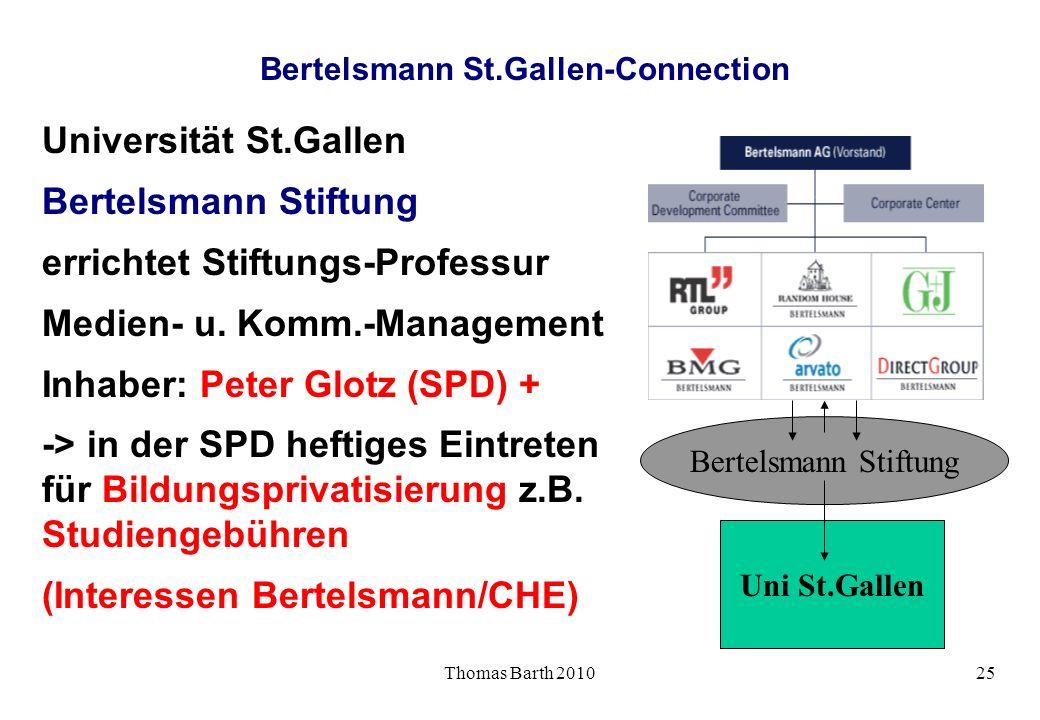Thomas Barth 201025 Bertelsmann St.Gallen-Connection Universität St.Gallen Bertelsmann Stiftung errichtet Stiftungs-Professur Medien- u. Komm.-Managem