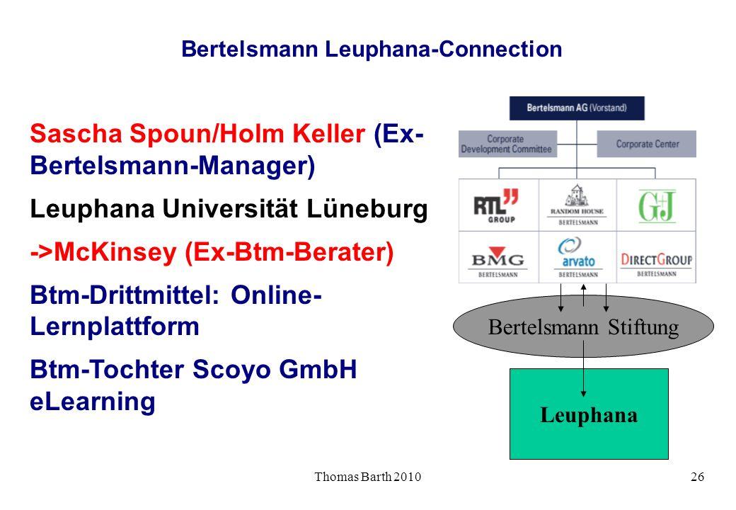 Thomas Barth 201026 Bertelsmann Leuphana-Connection Sascha Spoun/Holm Keller (Ex- Bertelsmann-Manager) Leuphana Universität Lüneburg ->McKinsey (Ex-Bt