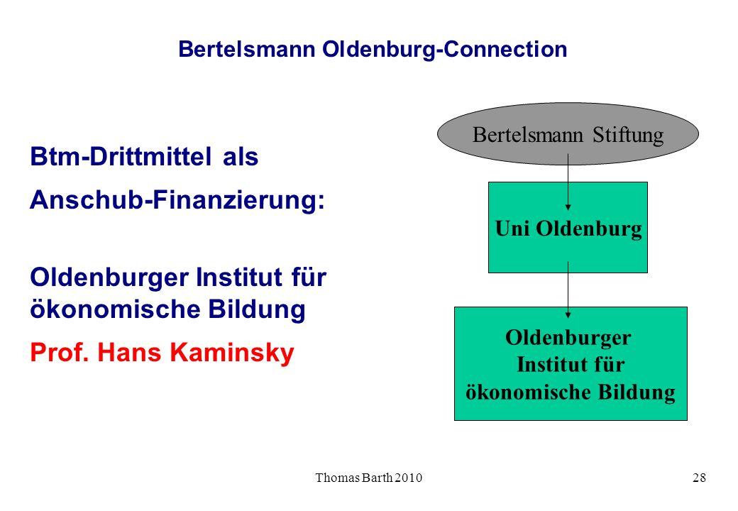 Thomas Barth 201028 Bertelsmann Oldenburg-Connection Btm-Drittmittel als Anschub-Finanzierung: Oldenburger Institut für ökonomische Bildung Prof. Hans