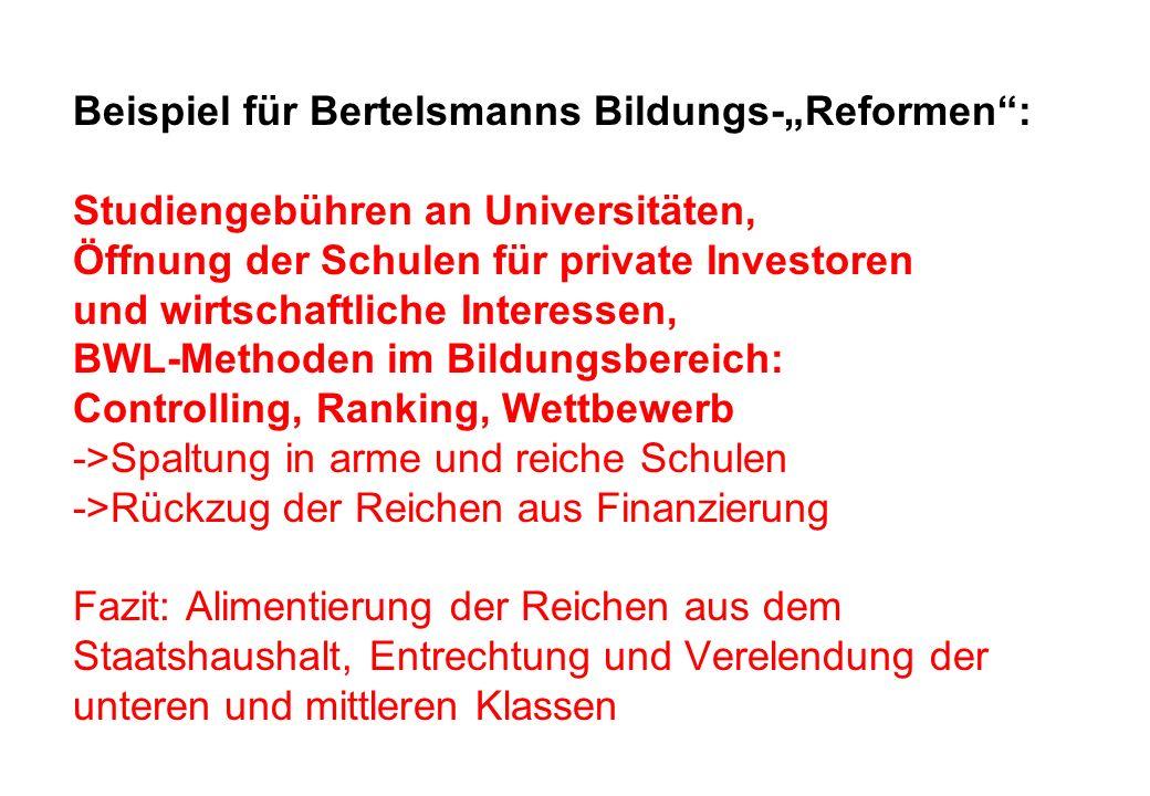 Beispiel für Bertelsmanns Bildungs-Reformen: Studiengebühren an Universitäten, Öffnung der Schulen für private Investoren und wirtschaftliche Interess