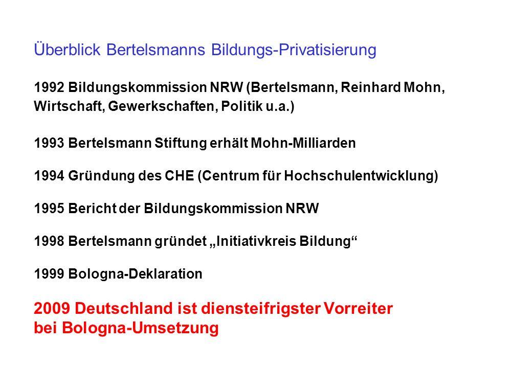 Überblick Bertelsmanns Bildungs-Privatisierung 1992 Bildungskommission NRW (Bertelsmann, Reinhard Mohn, Wirtschaft, Gewerkschaften, Politik u.a.) 1993