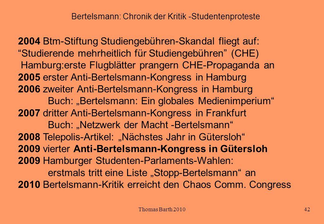 Thomas Barth 201042 Bertelsmann: Chronik der Kritik -Studentenproteste 2004 Btm-Stiftung Studiengebühren-Skandal fliegt auf: Studierende mehrheitlich