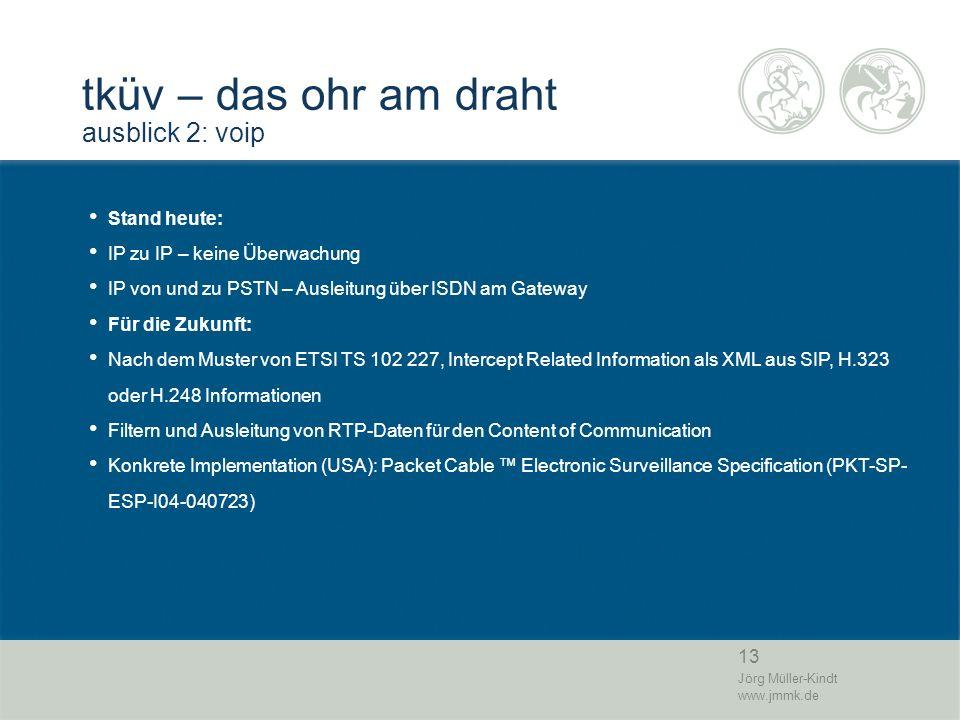 13 Jörg Müller-Kindt www.jmmk.de tküv – das ohr am draht ausblick 2: voip Stand heute: IP zu IP – keine Überwachung IP von und zu PSTN – Ausleitung üb
