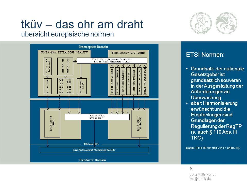 8 Jörg Müller-Kindt me@jmmk.de tküv – das ohr am draht übersicht europäische normen ETSI Normen: Grundsatz: der nationale Gesetzgeber ist grundsätzlic