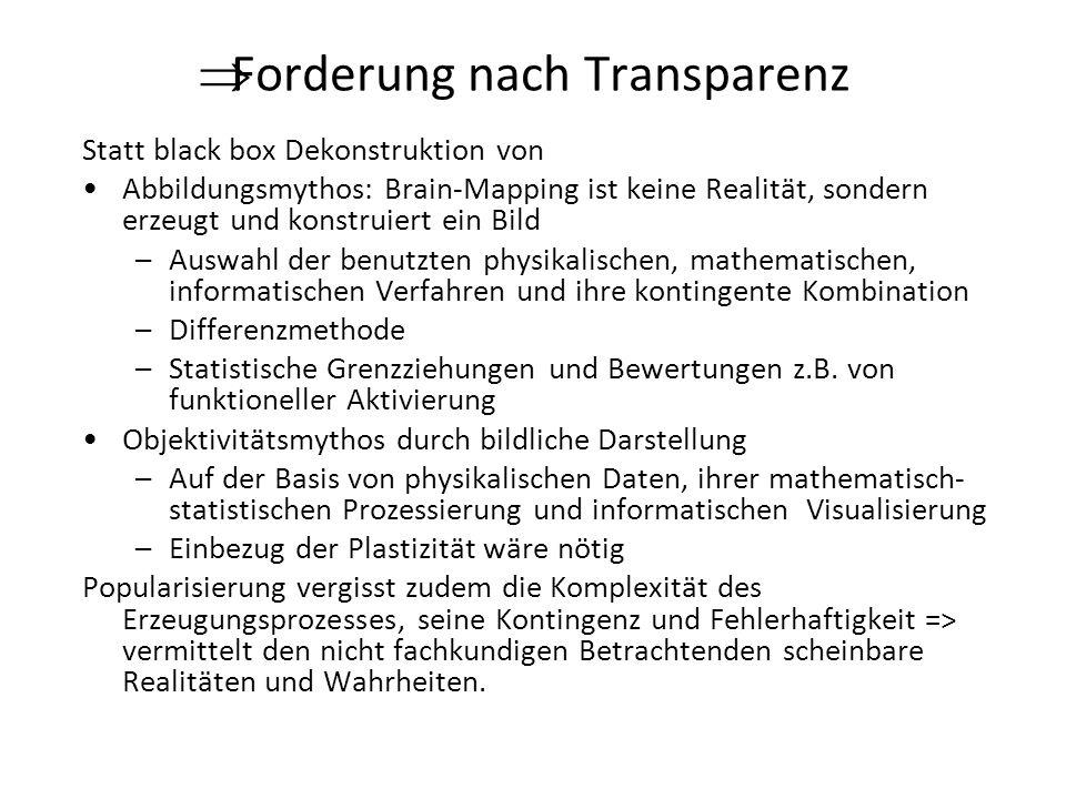 Forderung nach Transparenz Statt black box Dekonstruktion von Abbildungsmythos: Brain-Mapping ist keine Realität, sondern erzeugt und konstruiert ein