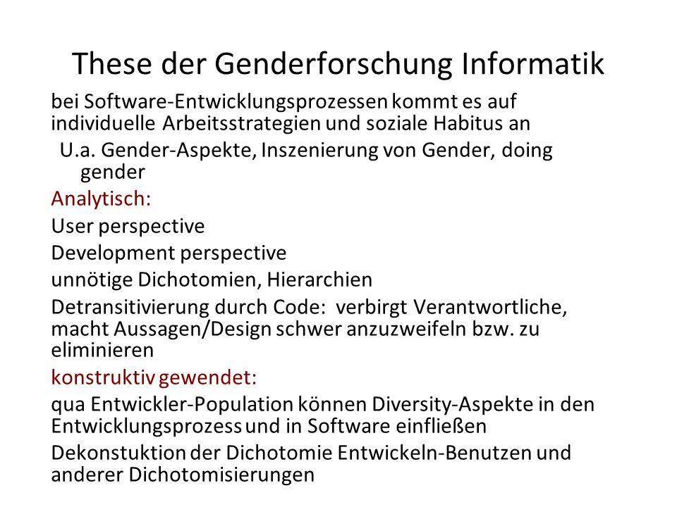 These der Genderforschung Informatik bei Software-Entwicklungsprozessen kommt es auf individuelle Arbeitsstrategien und soziale Habitus an U.a. Gender