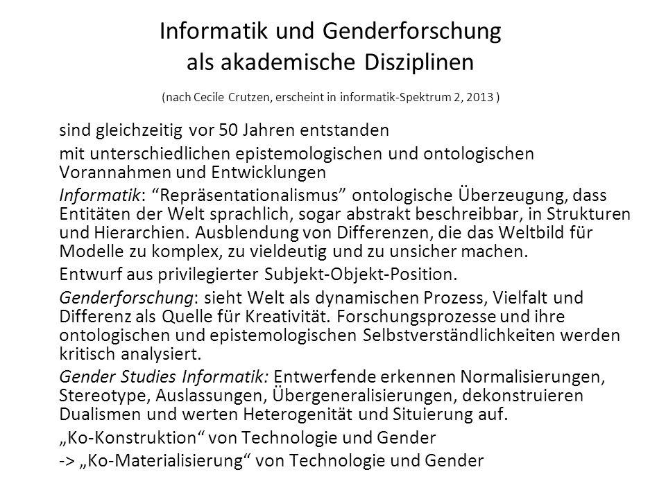 Informatik und Genderforschung als akademische Disziplinen (nach Cecile Crutzen, erscheint in informatik-Spektrum 2, 2013 ) sind gleichzeitig vor 50 J