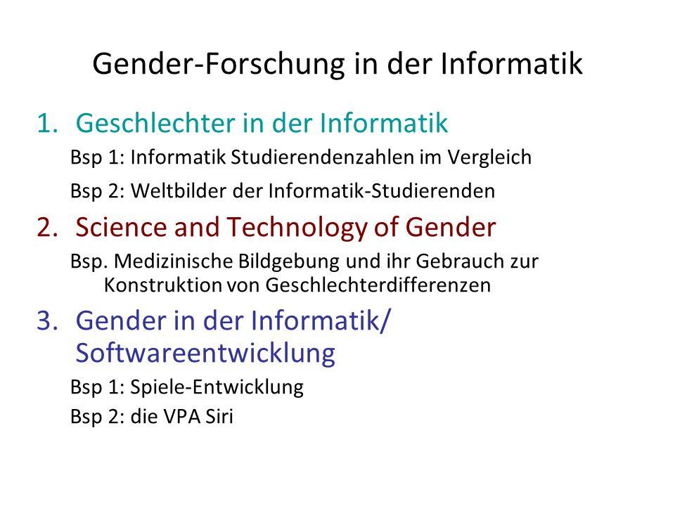 Gender-Forschung in der Informatik 1.Geschlechter in der Informatik Bsp 1: Informatik Studierendenzahlen im Vergleich Bsp 2: Weltbilder der Informatik