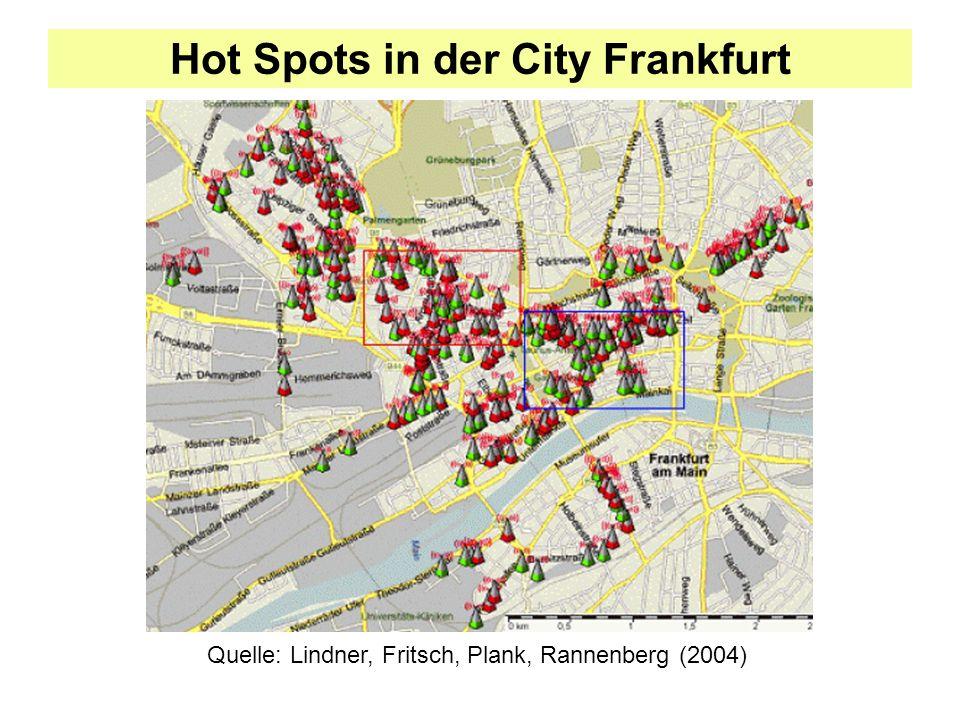Hot Spots in der City Frankfurt Quelle: Lindner, Fritsch, Plank, Rannenberg (2004)