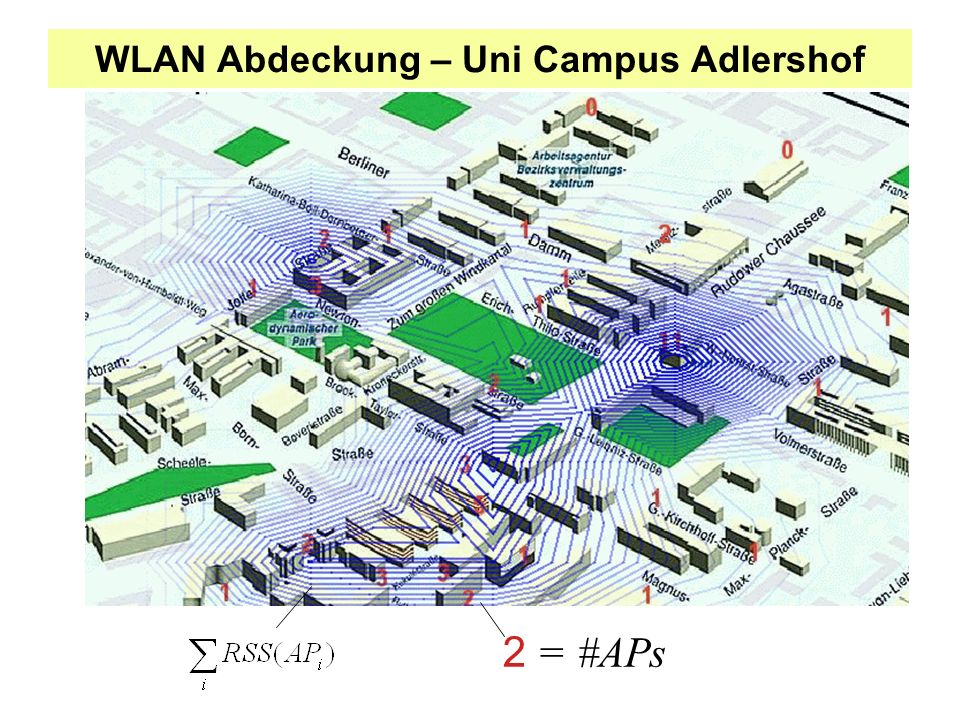 WLAN Abdeckung – Uni Campus Adlershof 2 = #APs