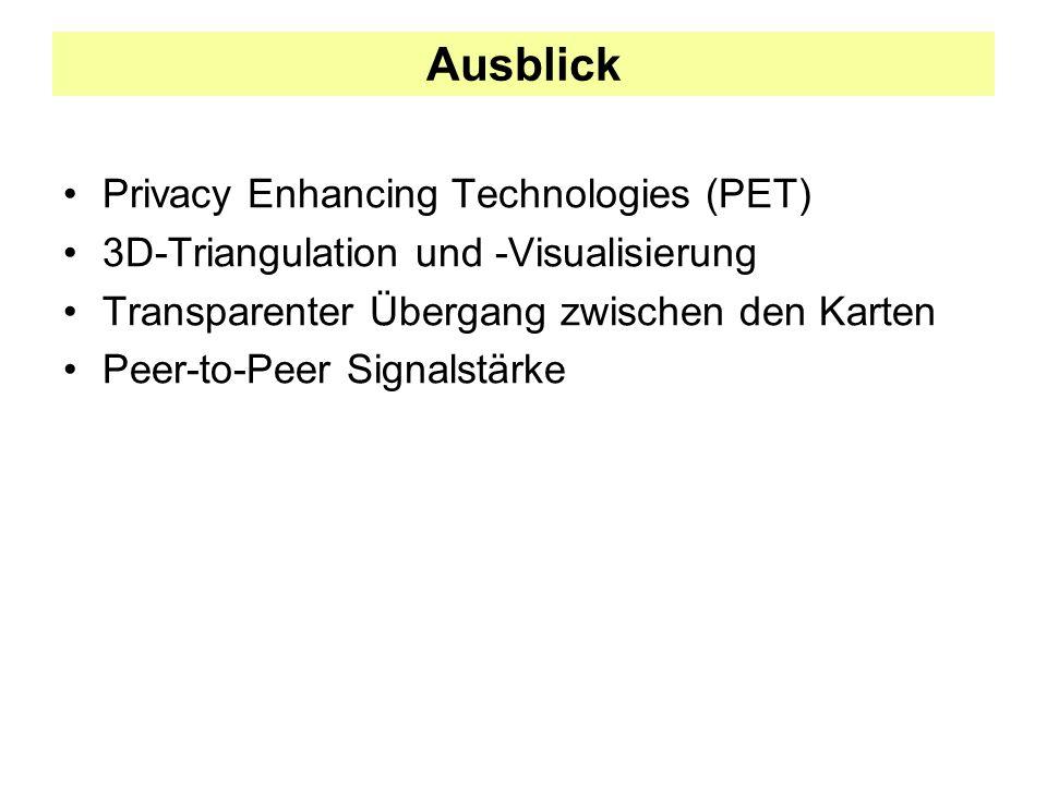 Ausblick Privacy Enhancing Technologies (PET) 3D-Triangulation und -Visualisierung Transparenter Übergang zwischen den Karten Peer-to-Peer Signalstärk