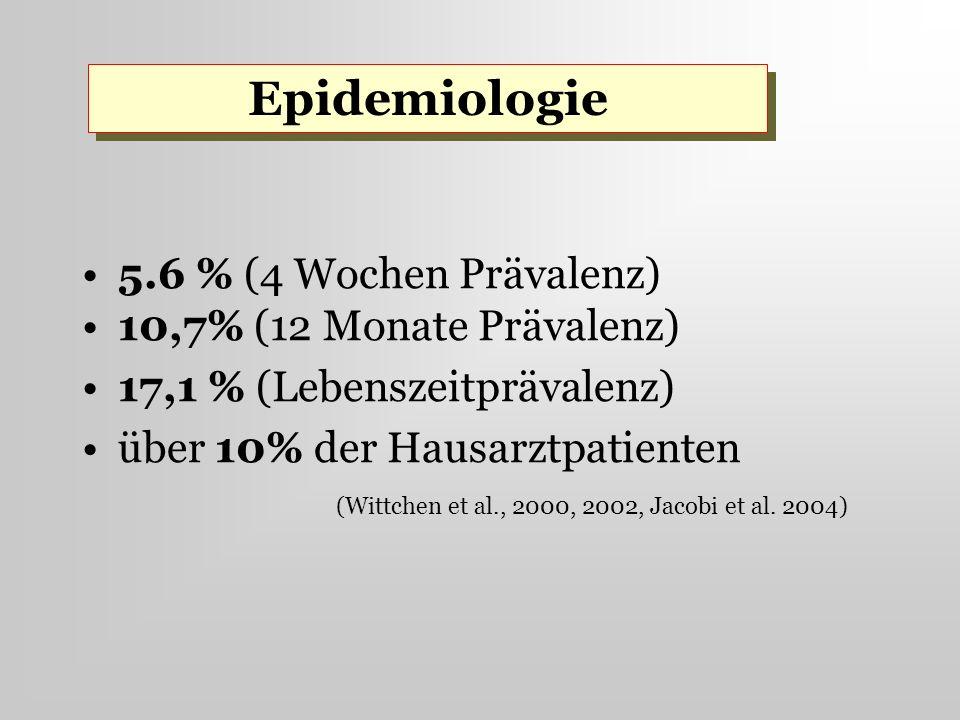 5.6 % (4 Wochen Prävalenz) 10,7% (12 Monate Prävalenz) 17,1 % (Lebenszeitprävalenz) über 10% der Hausarztpatienten (Wittchen et al., 2000, 2002, Jacob