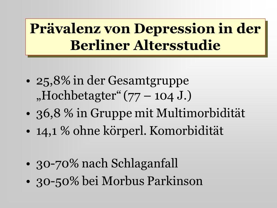 25,8% in der Gesamtgruppe Hochbetagter (77 – 104 J.) 36,8 % in Gruppe mit Multimorbidität 14,1 % ohne körperl. Komorbidität 30-70% nach Schlaganfall 3