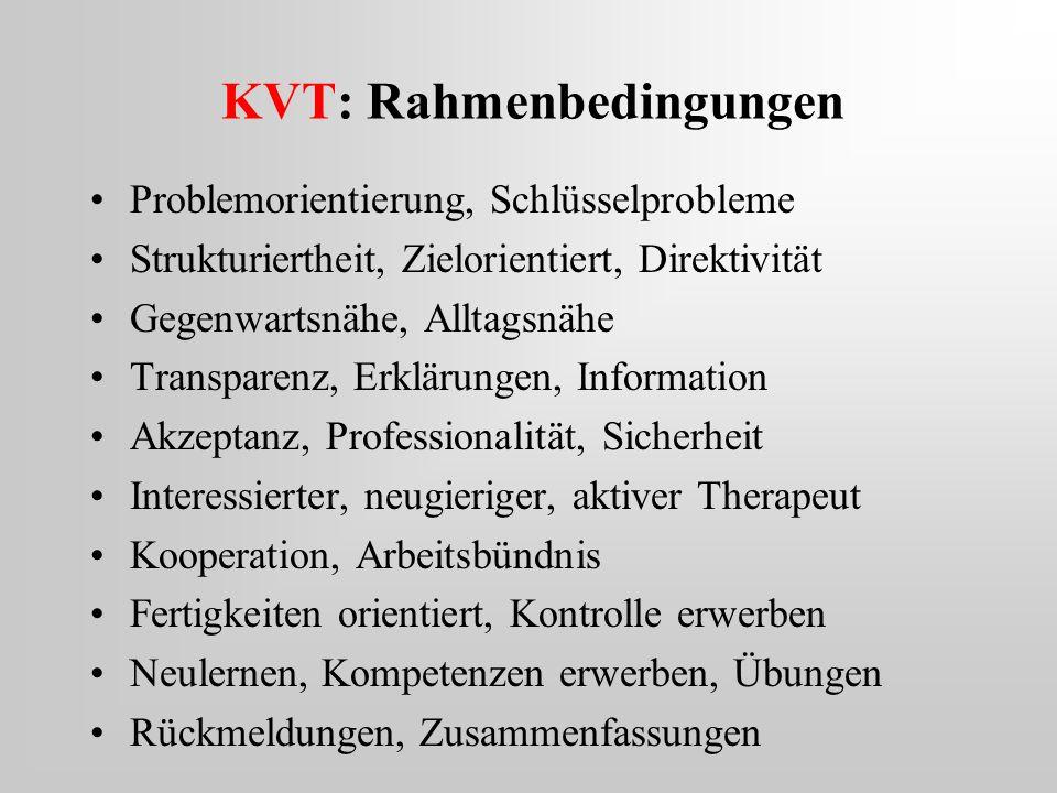 KVT: Rahmenbedingungen Problemorientierung, Schlüsselprobleme Strukturiertheit, Zielorientiert, Direktivität Gegenwartsnähe, Alltagsnähe Transparenz,