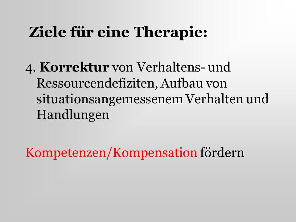 Ziele für eine Therapie: 4. Korrektur von Verhaltens- und Ressourcendefiziten, Aufbau von situationsangemessenem Verhalten und Handlungen Kompetenzen/