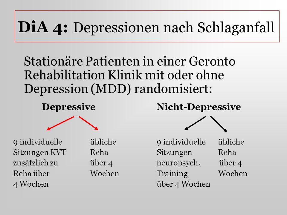 DiA 4: Depressionen nach Schlaganfall Stationäre Patienten in einer Geronto Rehabilitation Klinik mit oder ohne Depression (MDD) randomisiert: Depress