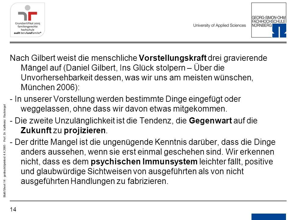 14 Blatt/Sheet 14 - gedruckt/printed 4.4.2005 - Prof. Dr. Karlheinz Ruckriegel Nach Gilbert weist die menschliche Vorstellungskraft drei gravierende M