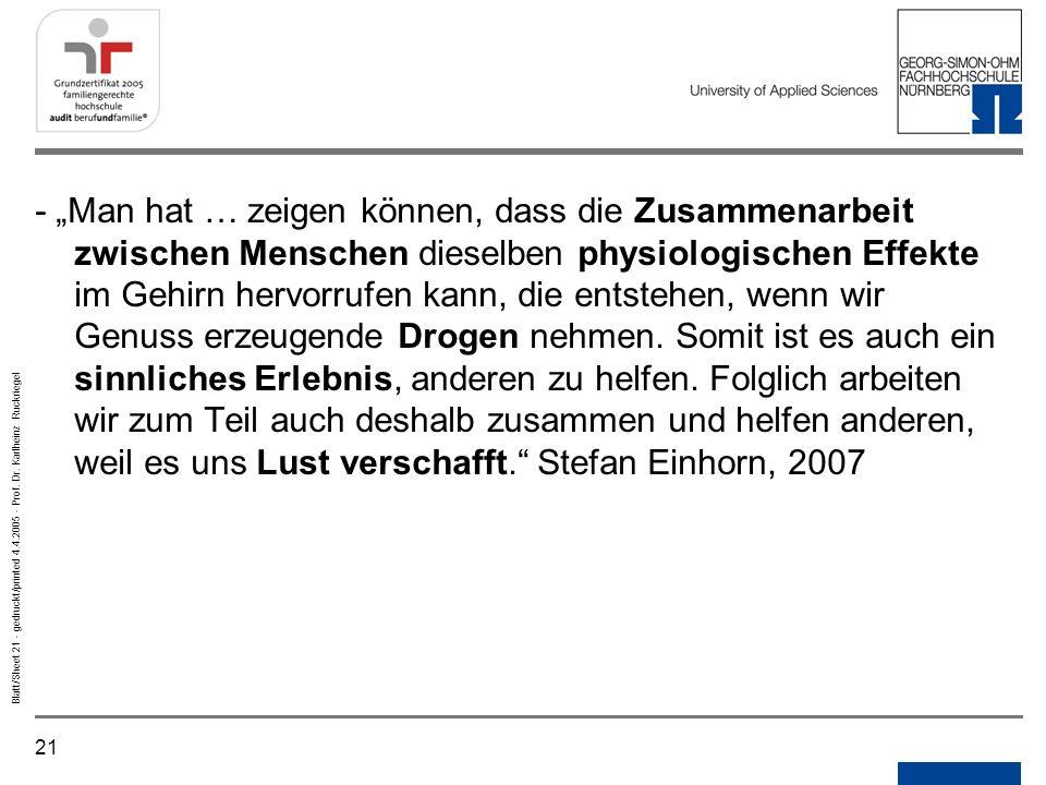 21 Blatt/Sheet 21 - gedruckt/printed 4.4.2005 - Prof. Dr. Karlheinz Ruckriegel - Man hat … zeigen können, dass die Zusammenarbeit zwischen Menschen di
