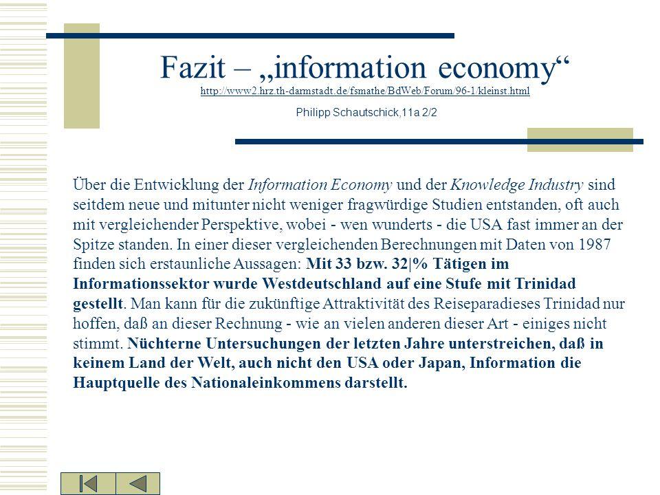 Fazit – information economy http://www2.hrz.th-darmstadt.de/fsmathe/BdWeb/Forum/96-1/kleinst.html Philipp Schautschick,11a 2/2 http://www2.hrz.th-darm