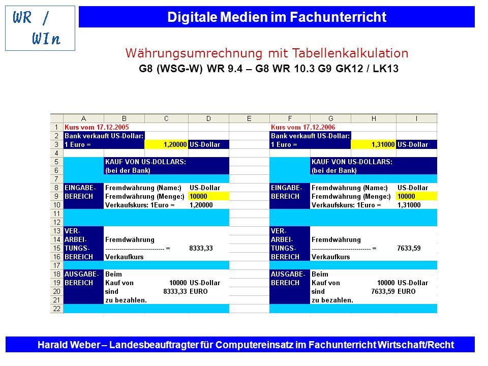 Digitale Medien im Fachunterricht Harald Weber – Landesbeauftragter für Computereinsatz im Fachunterricht Wirtschaft/Recht Währungsumrechnung mit Tabe