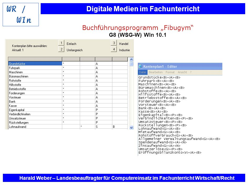 Digitale Medien im Fachunterricht Harald Weber – Landesbeauftragter für Computereinsatz im Fachunterricht Wirtschaft/Recht Buchführungsprogramm Fibugy