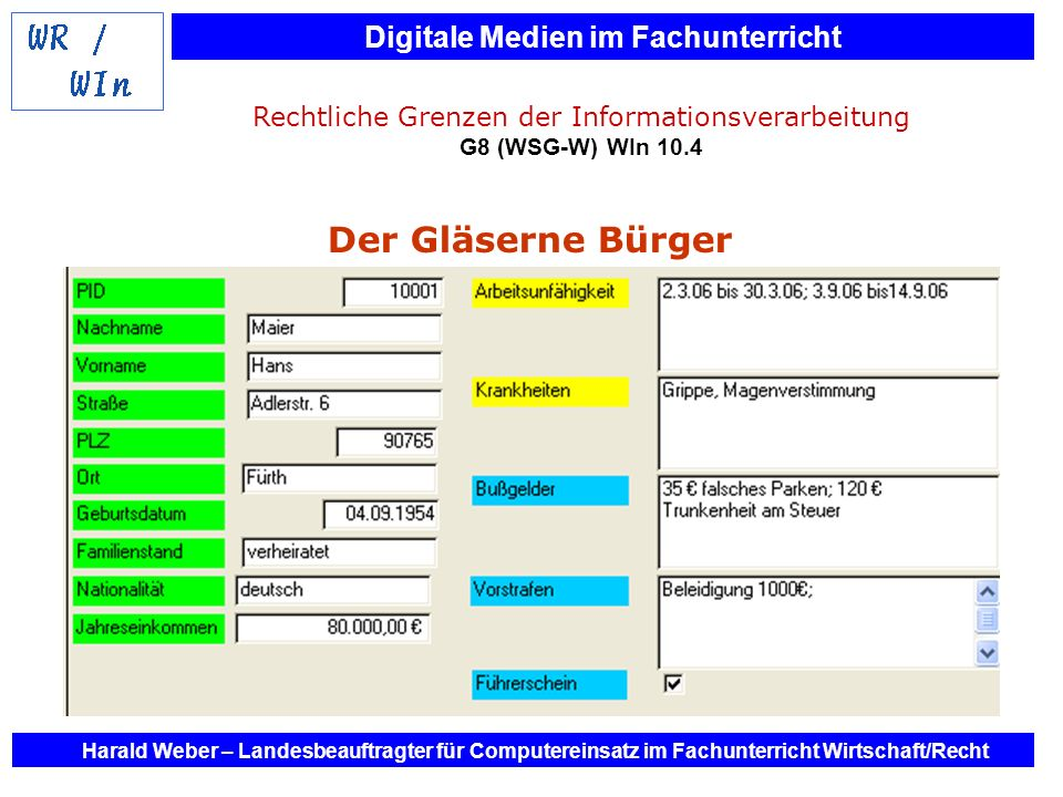 Digitale Medien im Fachunterricht Harald Weber – Landesbeauftragter für Computereinsatz im Fachunterricht Wirtschaft/Recht Rechtliche Grenzen der Info