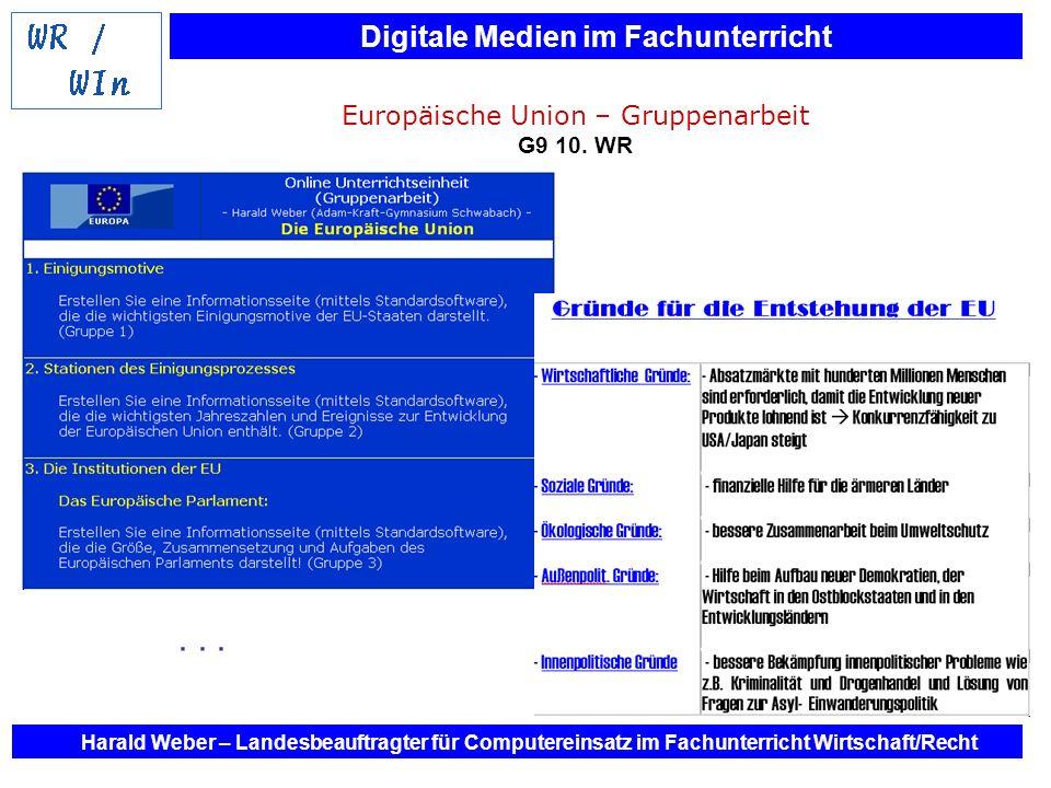 Digitale Medien im Fachunterricht Harald Weber – Landesbeauftragter für Computereinsatz im Fachunterricht Wirtschaft/Recht Europäische Union – Gruppen