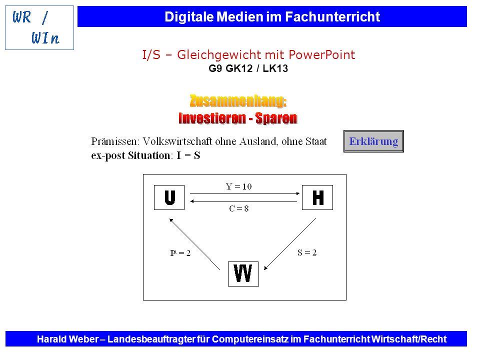 Digitale Medien im Fachunterricht Harald Weber – Landesbeauftragter für Computereinsatz im Fachunterricht Wirtschaft/Recht I/S – Gleichgewicht mit Pow