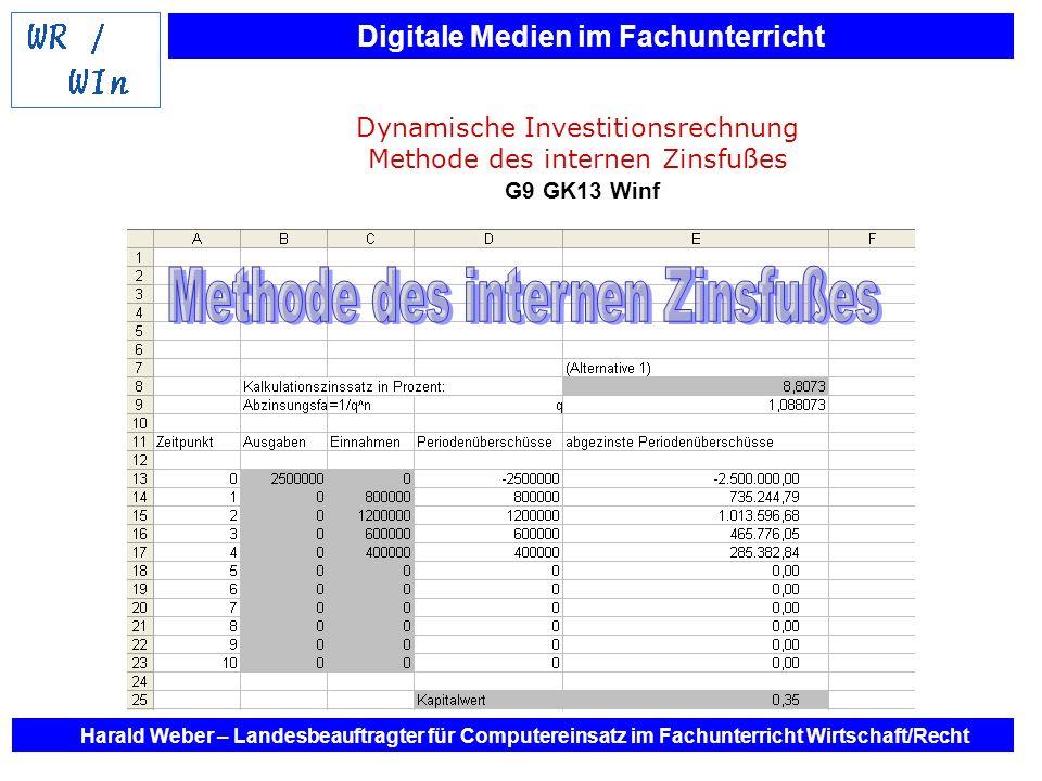 Digitale Medien im Fachunterricht Harald Weber – Landesbeauftragter für Computereinsatz im Fachunterricht Wirtschaft/Recht Dynamische Investitionsrech