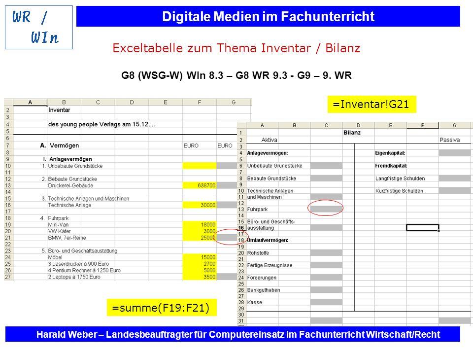 Digitale Medien im Fachunterricht Harald Weber – Landesbeauftragter für Computereinsatz im Fachunterricht Wirtschaft/Recht Exceltabelle zum Thema Inve