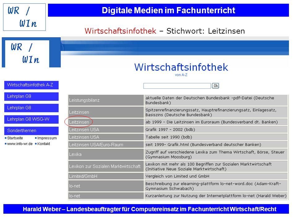 Digitale Medien im Fachunterricht Harald Weber – Landesbeauftragter für Computereinsatz im Fachunterricht Wirtschaft/Recht Wirtschaftsinfothek – Stich