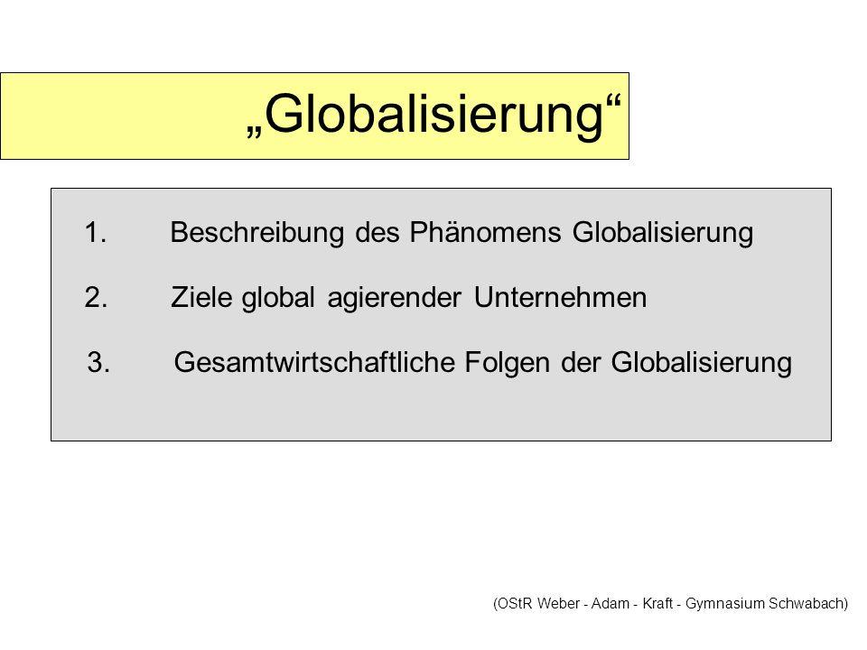 Globalisierung 1.Beschreibung des Phänomens Globalisierung (OStR Weber - Adam - Kraft - Gymnasium Schwabach) 2.Ziele global agierender Unternehmen 3.G