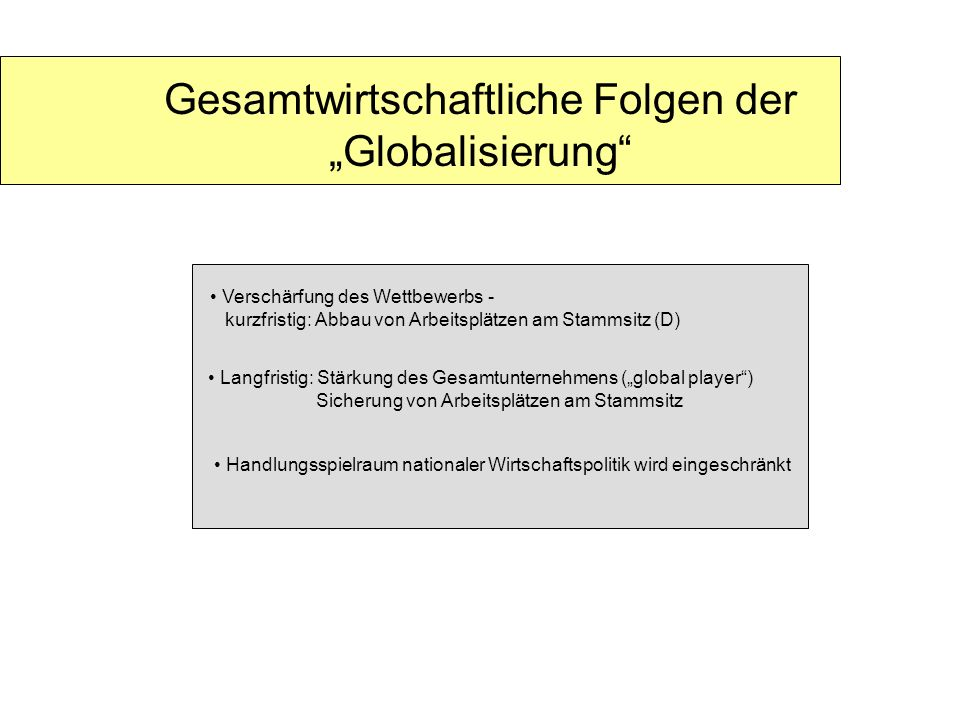 Gesamtwirtschaftliche Folgen der Globalisierung Verschärfung des Wettbewerbs - kurzfristig: Abbau von Arbeitsplätzen am Stammsitz (D) Handlungsspielra