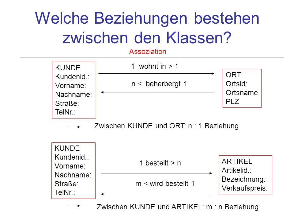 Umsetzung des semantischen Modells in ein relationales Datenbankmodell Einrichten von Klassenbeziehungen: Darstellung von Klassen in Tabellen