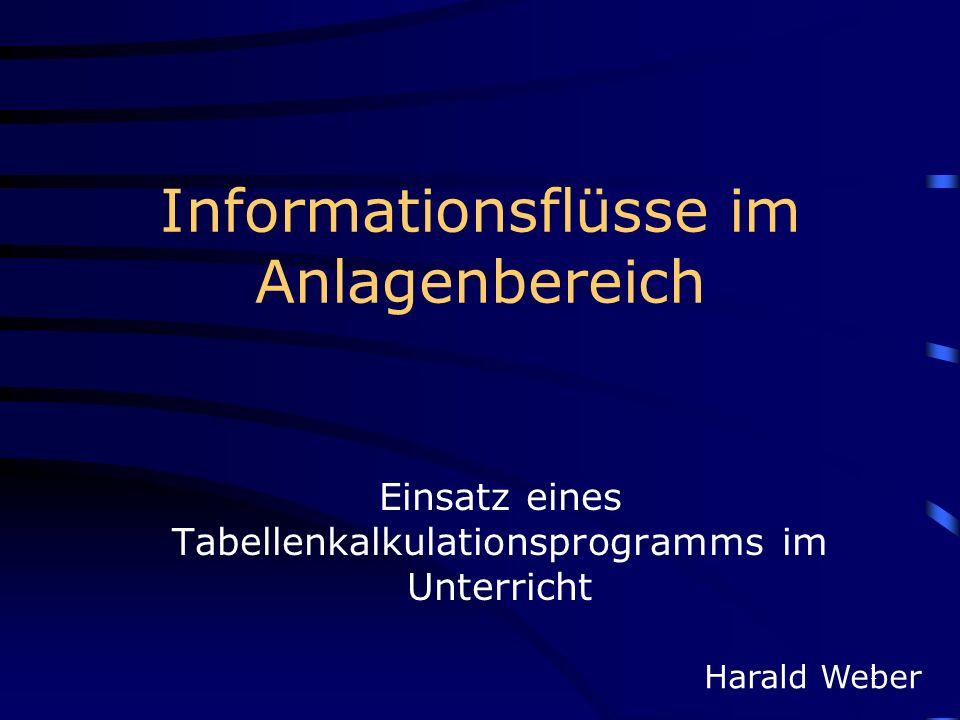 1 Informationsflüsse im Anlagenbereich Einsatz eines Tabellenkalkulationsprogramms im Unterricht Harald Weber