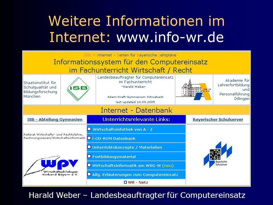 Weitere Informationen im Internet: www.info-wr.de Harald Weber – Landesbeauftragter für Computereinsatz