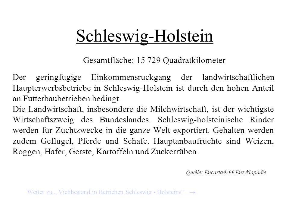 Viehbestand in Betrieben Nordrhein - Westfalens Quelle: Agrarbericht der Bundesregierung 2000
