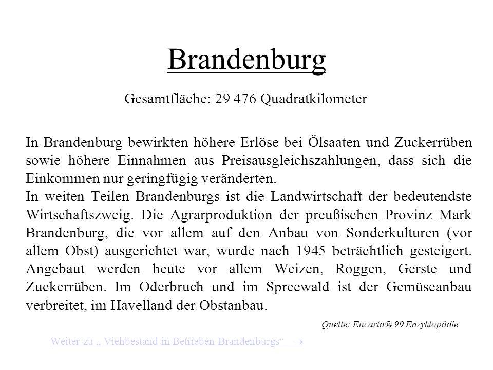 Viehbestand in Betrieben Thüringens Quelle: Agrarbericht der Bundesregierung 2000